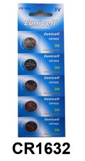CR1632 / DL1632 / EBR1632 Batteries -  Lithium 3V Button Coin Cell 3 Volt CR1632 Battery(PACK OF 5)